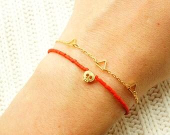 Red Beaded Bracelet w/ Tiny Gold Skull & Red Pendant - Friendship Bracelet