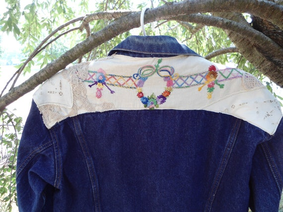 Upcycled Esprit jean jacket with vintage linen and lace size 10