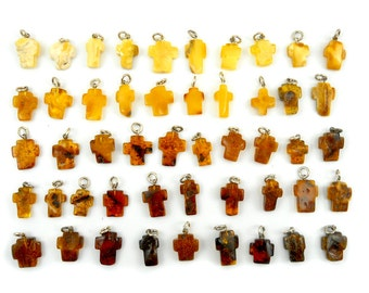 SALE! Hand Carved Amber Baltic CROSS - Yellow - Honey - Cognac - Cherry - size S - 12pcs available