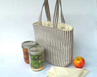 Pint 2-jar bag - Jars to Go blue ticking stripe mason canning jar lunch tote bag carrier - as seen on the Food in Jars blog