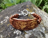 Leather Wrap Bracelet with Ceramic Focal, Natural Brown Braided Leather and Pottery Focal in Textured Butterscotch Brown and Yellow (CB-414)