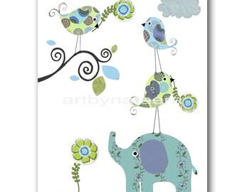 Art for Kids Room Kids Wall Art Baby Boy Room Decor Baby Nursery print Kids Print Boy Print elephant birds tree blue