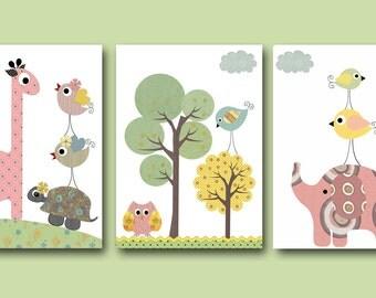 Baby Nursery Decor Art for Children Kids Wall Art Baby Girl Room Decor Baby Girl Nursery Print set of 3 Print Kids Room  Elephant Pink