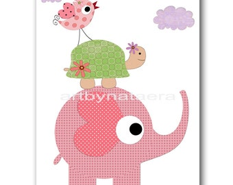 Nursery art print Baby nursery decor baby Girl nursery print kids art kids room decor nursery wall art turtle elephant print rose
