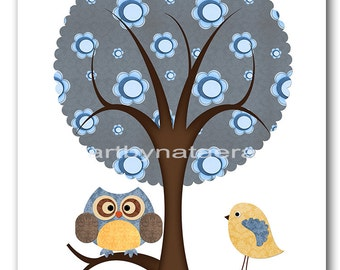 Nursery art decor Children decor Kids Art nursery wall art baby nursery kids art print tree bird owl decoration yellow grey