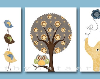 Baby Boy Room Decor Kids Wall Art Baby Boy Nursery Decor Print set of 3 8 x 10 Baby Gift Tree Birds Owls Giraffe Elephant Art for Kids Room