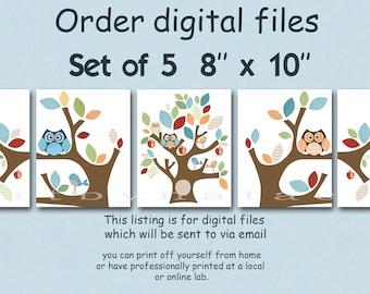 "Printable DIGITAL print, nursery wall decor, Kids Art, Children Decor, kids art print set of 5 8"" x 10"" DIY"
