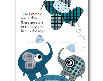 Baby Room Art Nursery Decor art for Kids Baby Nursery Wall Art Nursery Boy Room plane kids art Nursery print blue navy elephant