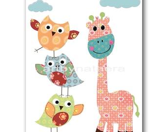 Kids Room Art Baby Nursery Wall Art Children Artwork Kids Art Baby Boy Nursery Print Baby Room Giraffe Owls Decoration Blue Pink