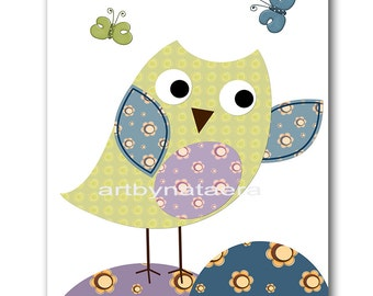 Art for Kids Room Kids Wall Art Baby Boy Nursery Room Kids Decor Baby Nursery Print Nursery Owl Decor Green Blue Purple Artwork