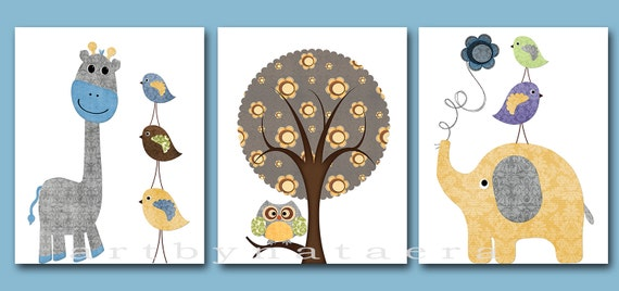 Baby Boy Room Decor Kids Wall Art Baby Boy Nursery Decor Print Set Of