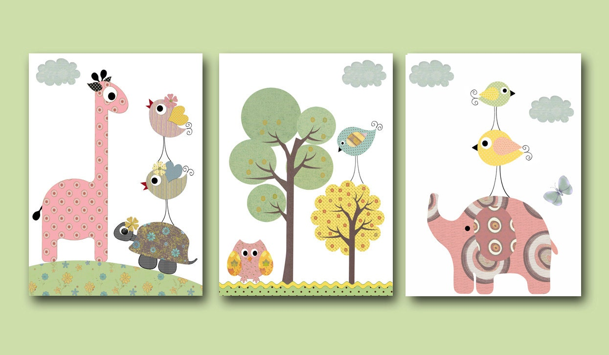 Baby nursery decor art for children kids wall art baby girl for Baby girl wall decoration