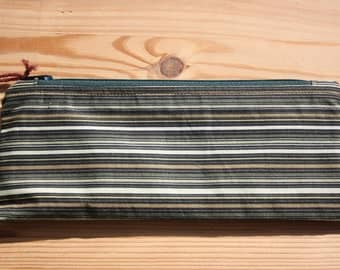 Green Stripy Pencil Case- Green Zip, Brown Lining.