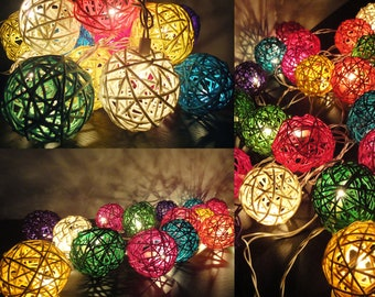 20 Mixed Multi Handmade Rattan Balls Fairy String Lights Party Patio Wedding Floor Table or Hanging Gift Home Decor Living Bedroom Holiday