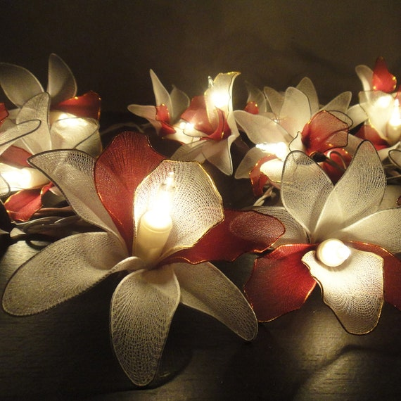 20 White-Burgundy Orchid Flower Fairy String Lights Wedding Party Floral Home Decor 3.5m