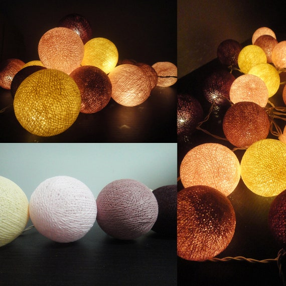 20 Big Cotton Balls Mixed Vintage Romantic Tone Fairy String Lights Party Patio Wedding Floor or Hanging Gift Home Decor Christmas Bedroom