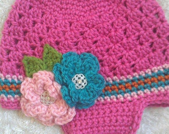 Shell Stitch Earflap Hat