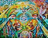 Psychedelic Artwork, Visionary Art ,  Self Portrait - Visions of The third eye-  8.5 x 11 print framed, white matte