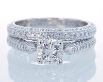 14 Karat White Gold Diamond Eternity Solitaire Engagement Ring Bridal Wedding Set