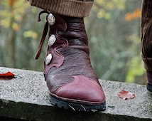 Elven Flame Buffalo Moccasin - Men's Leather Boots - Men's Custom Moccasins  - Action Moccasins - Stealth Trackers - LARP Boots - SASS Boots