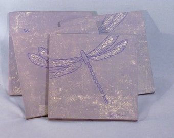 Elegant violet dragonfly tumbled marble dragonfly coasters