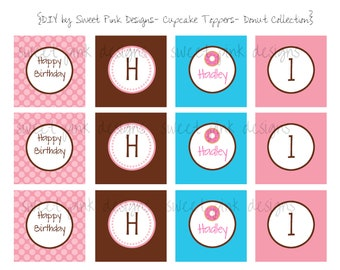 Donut Cupcake Toppers- Printable Party Circles