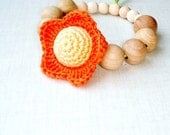 Teething ring Baby teether Autumn color Orange yellow Flower Waldorf toy Developing sensory toy Baby teether
