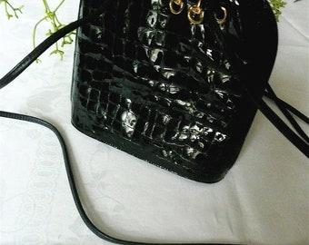 Women's Handbag - Black Leather Purse - Formal Satchel Shoulder Bag - Moc Crock Designer Bag - Velvet Interior - Gold Tone Hardware