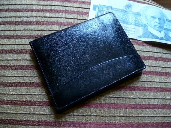 Mens Wallet - Leather Wallet - Vintage Mens Wallet - Black Leather Billfold - Money Clip
