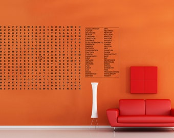 Science physics word puzzle Extra Large vinyl wall decal - lettering game decal for playroom classroom (ID: 121031)