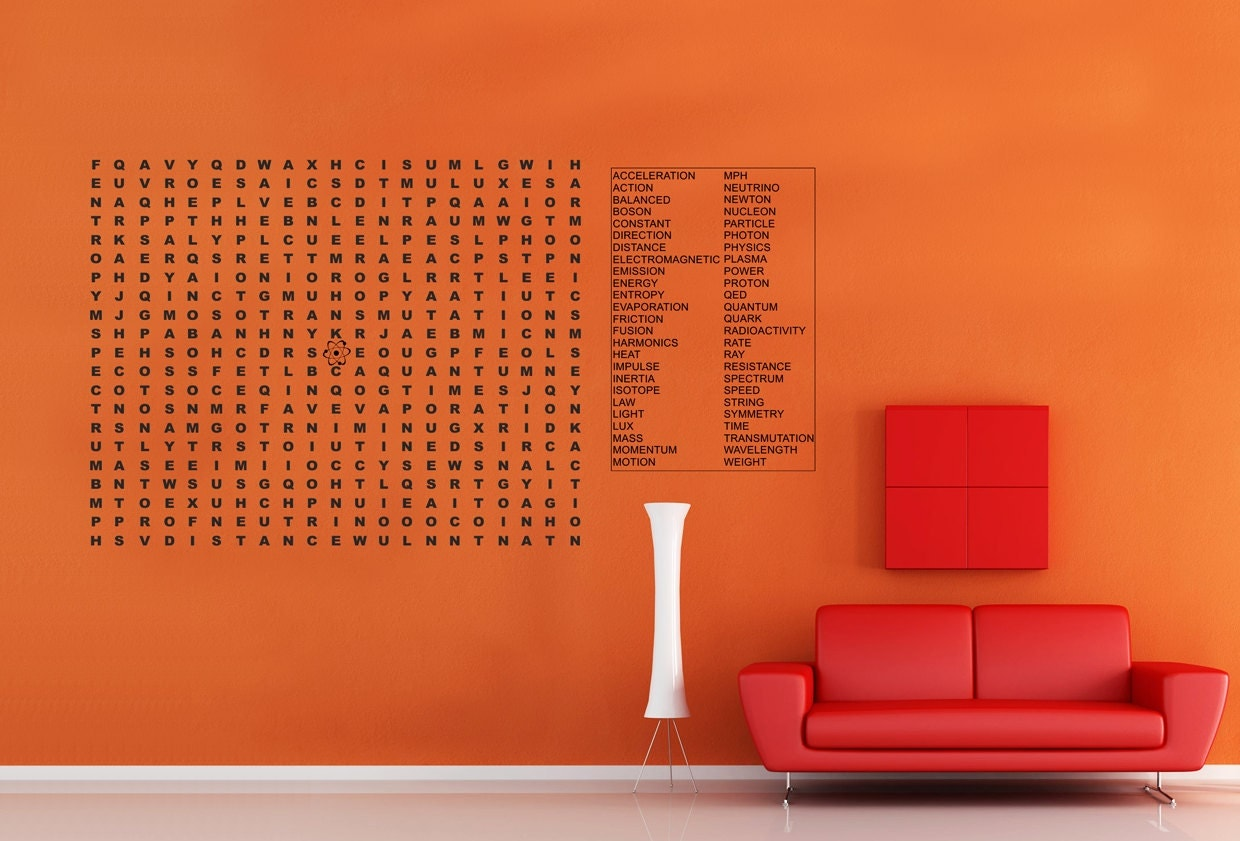 Science physics word puzzle extra large vinyl wall decal zoom amipublicfo Choice Image