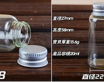 10pcs 27x58mm Small Clear Glass Bottle Vial Charm Pendant - Glass Bottle with Aluminum Cap