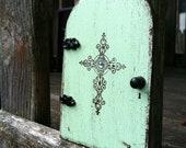 Fairy Door, distressed green cross, imaginative play, housewarming gift, ready to ship.