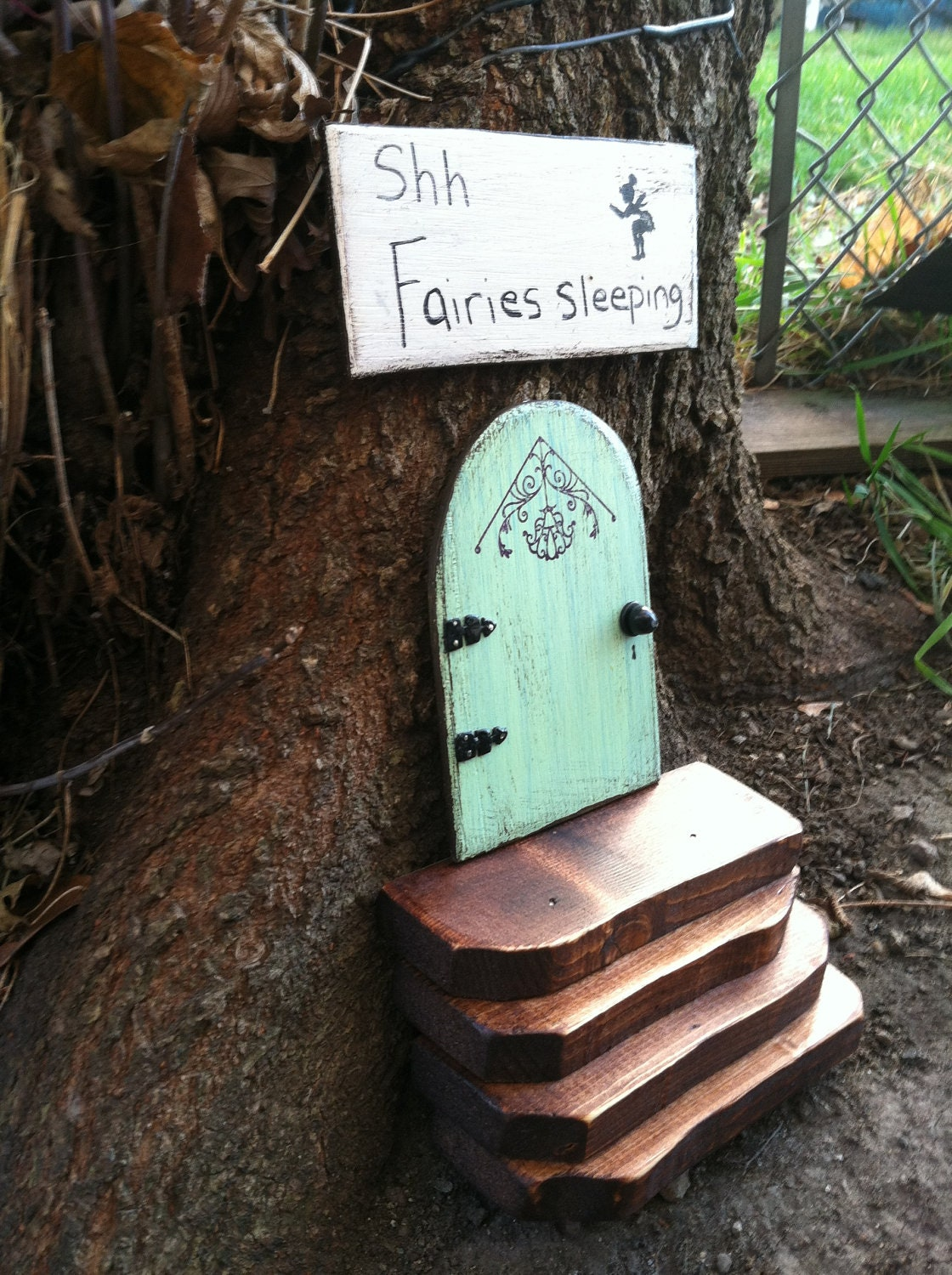 Fairy Door Ideas handcrafted fairy door gnome pixie door teal blue arch Fairy Door Etsy