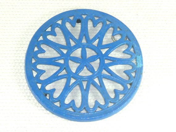 Vintage Electric Blue Heart and Starfish Trivet