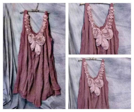 Rose Butterfly Tunic Mauve Beach Gauze Cover Up Plus Size 1X 2X Womens Autumn