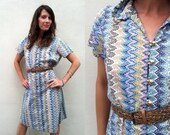 Missoni Style Ruffled Collar and Gold Buttons Short Sleeve Midi Dress Size M/L