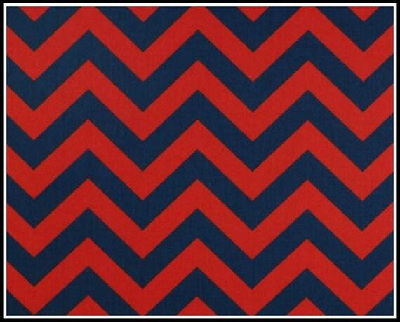 1 yard Lipstick / Blue Zig Zag -  Red Blue Chevron  by Premier Prints - Home Dec