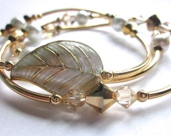 Bangle Set, Cloissone Bracelet, Stackable Bracelets, Pearl and Crystal, Swarovski Crystal, Leaf Jewelry