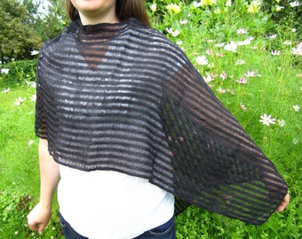 Black linen shawl poncho scarf. Four different variants. Wrap linen shawl scarf. Summer linen shawl poncho scarf. Maternity shawl poncho