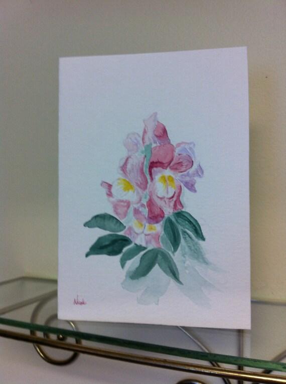 "Handpainted original watercolor card ""Pink Snapdragons"" 5x7"