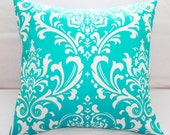 Decorative Bright Aqua Teal Turquoise Damask Pillows Cover 18x18 Pillow Slipcover