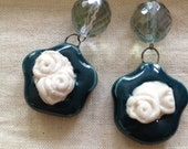 Teal Glazed Porcelain Cameo Earrings with Czech Glass Bead on Gunmetal Wire