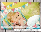 Bunting Birthday Invitation - Pennant Banner Photo Printable Invite - Full Photo - Girl First Birthday Invitation or ANY AGE - Any Color