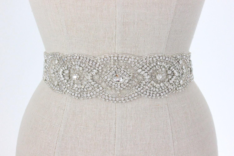 wedding belt beaded bridal sash vintage silver by