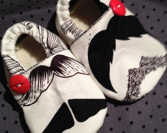 Mister Mustache Booties. Available in sizes 0-18mo.