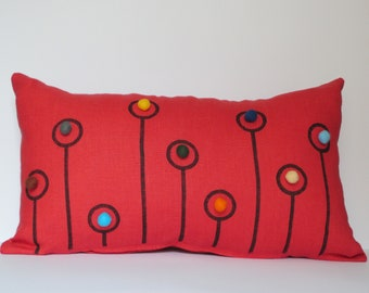Coral Red Linen Pillow Case Embellished With Colourful Felt Balls and Pen Drawing New Design by tuliManna 12x20 Inch