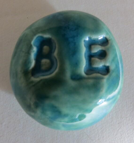 BE Pocket Stone - Ceramic - AQUAMARINE Art Glaze - Inspirational Art Piece