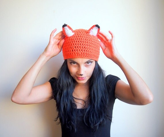 PDF crochet pattern,  fox hat, beanie animal costume, DIY tutorial, Quick and easy gift