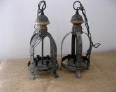 Vintage Set of Electric Lanterns, Pair of Vintage Hanging Lights, Gothic Rustic Style